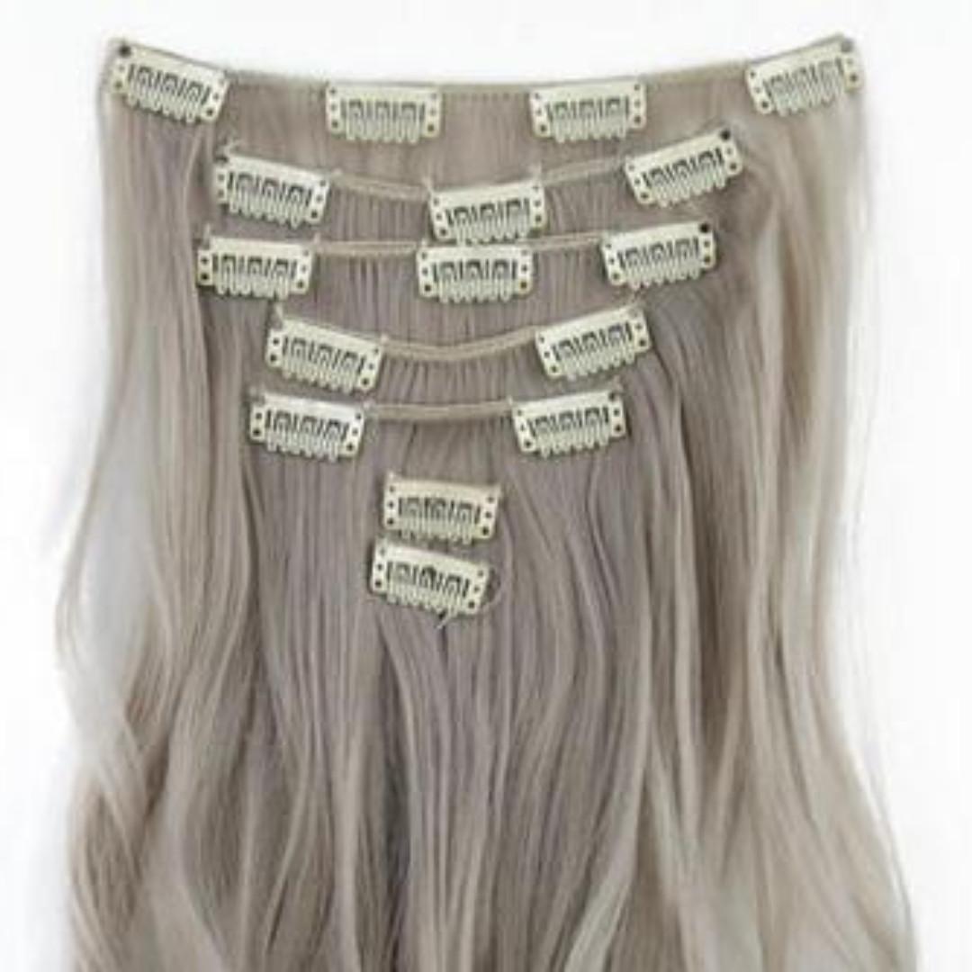 淺奶奶灰七件夾扣式假髮髮片套組