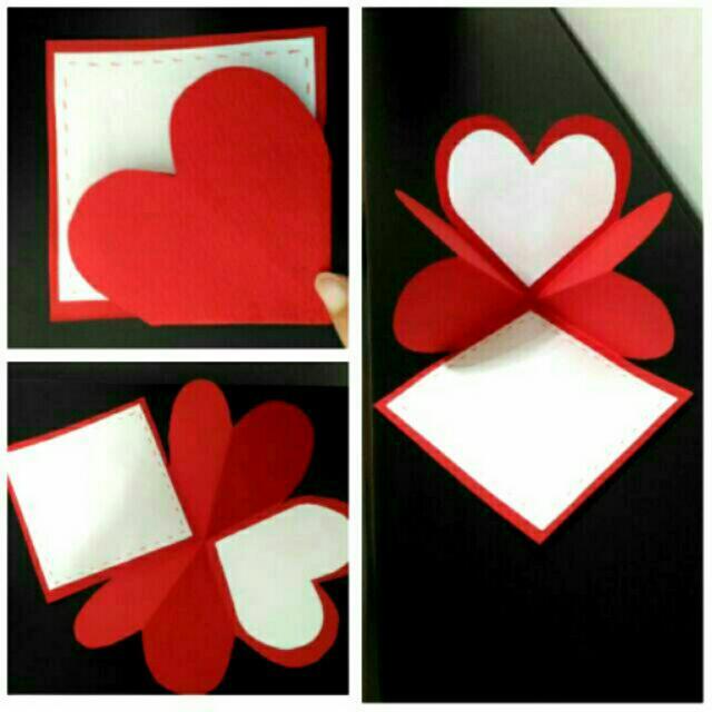 【艾咪手作】愛心翻折卡片 手工卡片 機關卡片情人卡片 七夕 情人節
