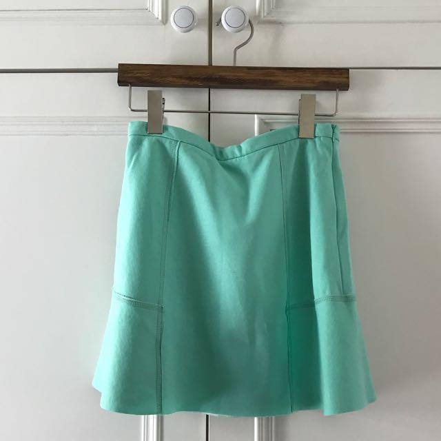 薄荷色棉質短裙