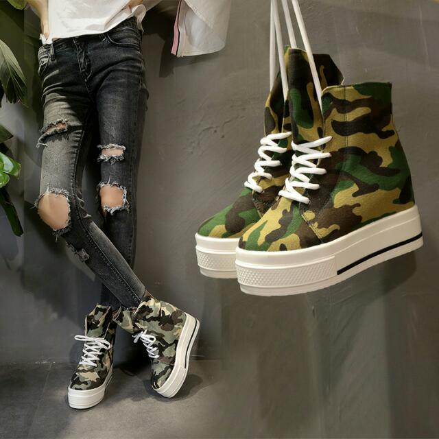 迷彩風帆布鞋 內增高厚底鞋 預購