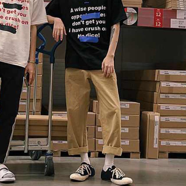 全新 無印日系古著感 卡其寬褲 寬鬆 可反折 男女皆可 L Size