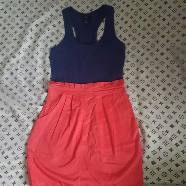 Authentic H&M Navy & Orange Dress