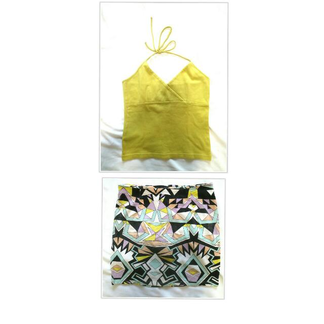 Backless Top And Geometric Skirt Terno