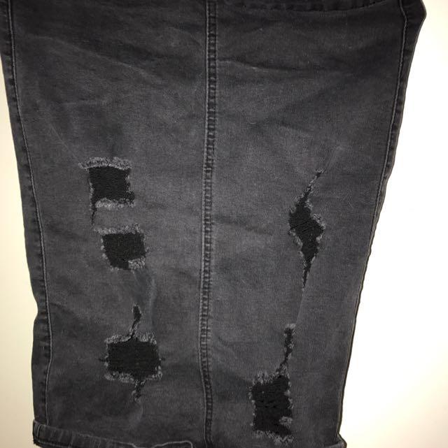 Black Denim Ripped High Skirt