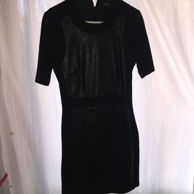 Black Leather Pad Fitted Dress