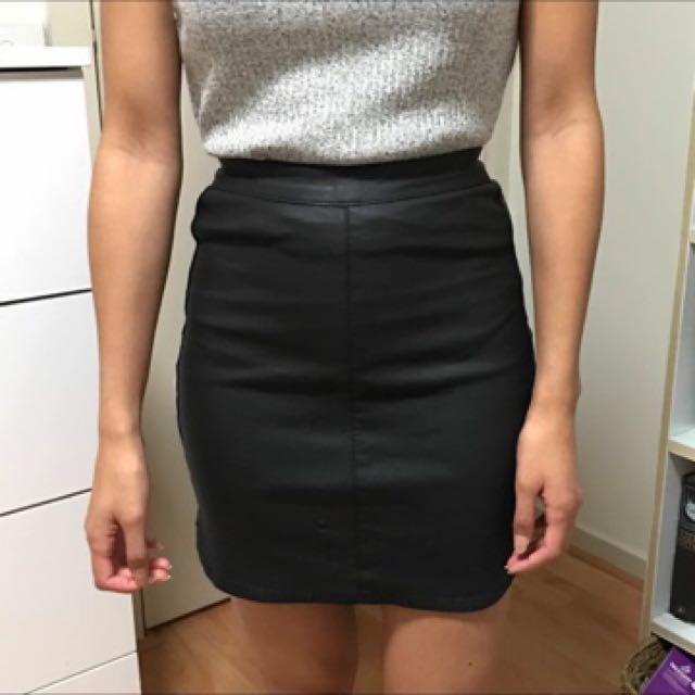 Black Pleather Mini Skirt Size 6