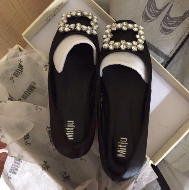 Black Satin Mitju Flat Shoes