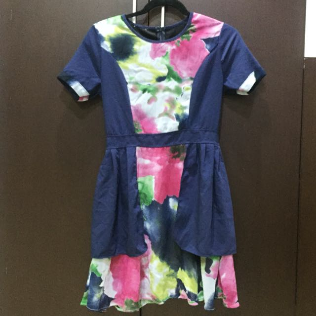 Blue-Abstract Spring Dress