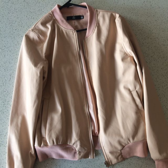 Blush Pink Faux Leather Bomber