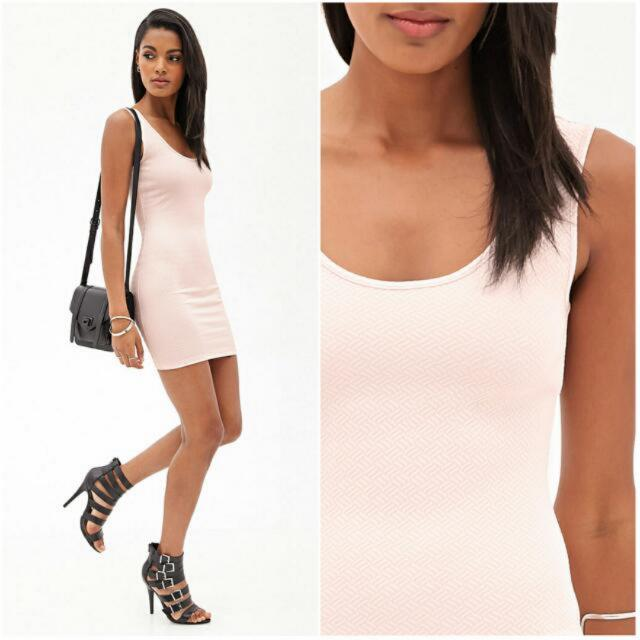 cc9bc7d6 BN* Forever 21 Cross Hatch Sleeveless Bodycon Dress In Nude Blush ...