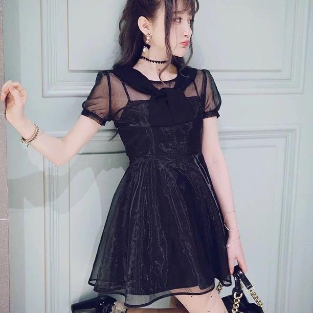 Bobon21 赫本洋裝 黑色假兩件