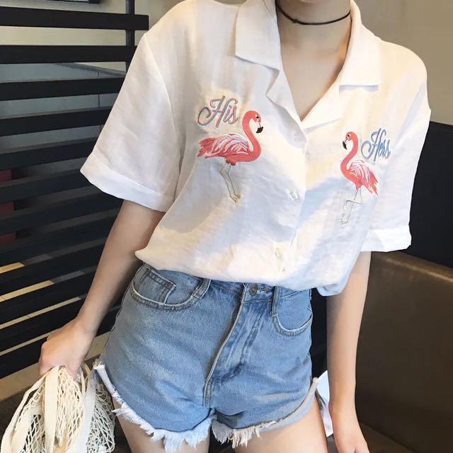 復古韓國chic風刺繡火烈鳥寬松西裝領白色短袖女襯衫夏季上衣襯衣