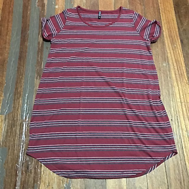 Cotton On Red/Gray Shirt Dress M