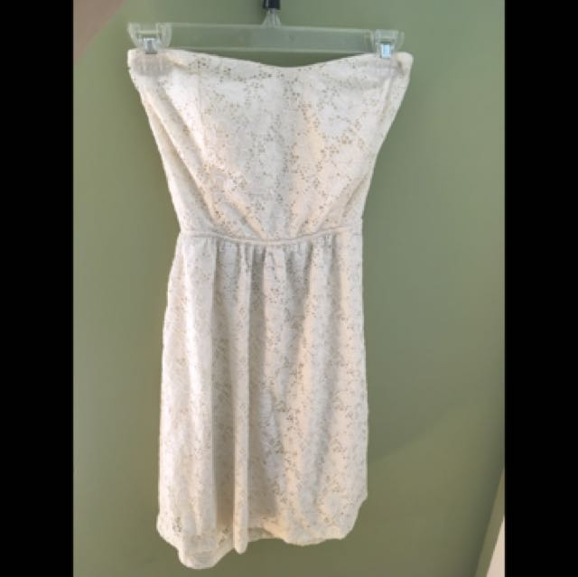 Cream Lace Strapless Dress