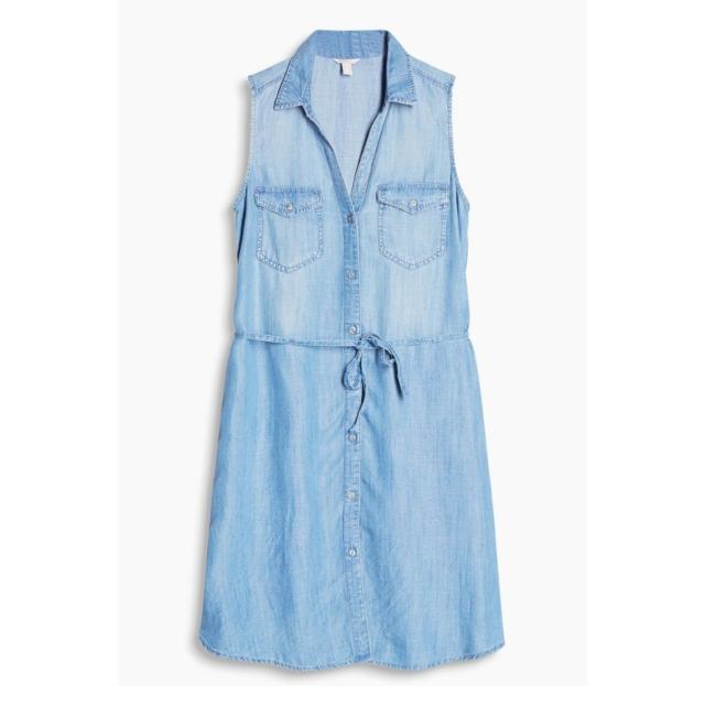 1d557f9052 Espirit Flowing Denim Dress With Tie Around Belt (size  L)