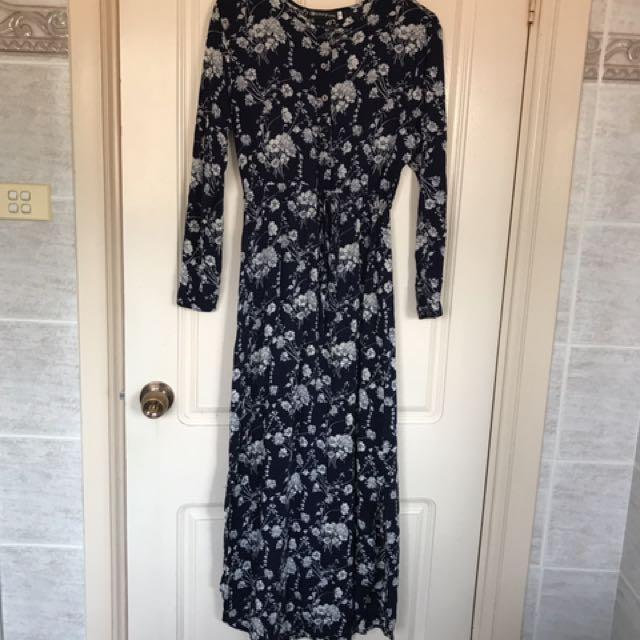Floral Dark Navy Dress