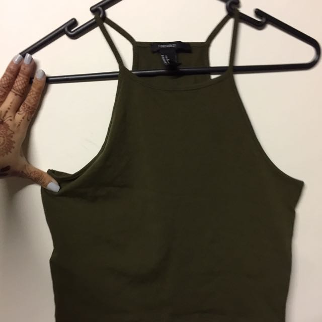Forever 21 Crop Top In Army Green