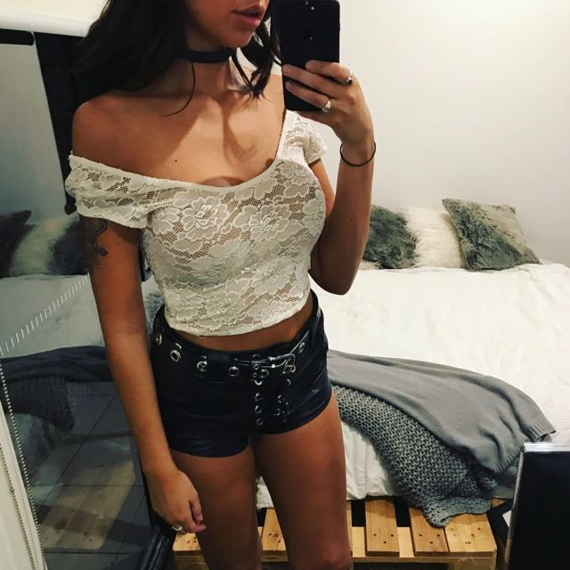 Forever New White Lace Crop
