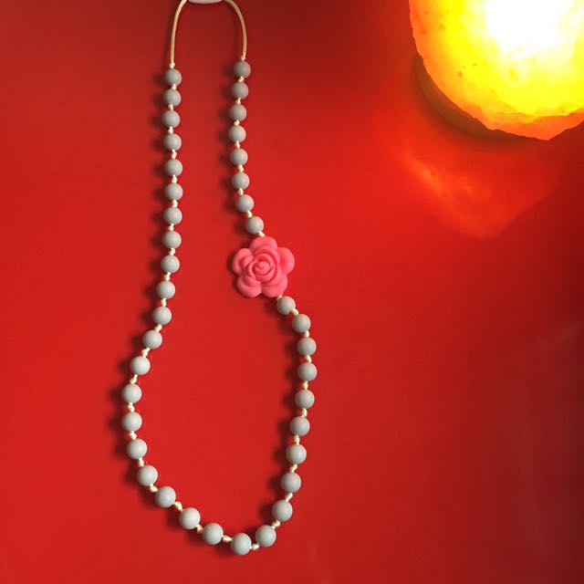 Gray and Sakura Teether necklace