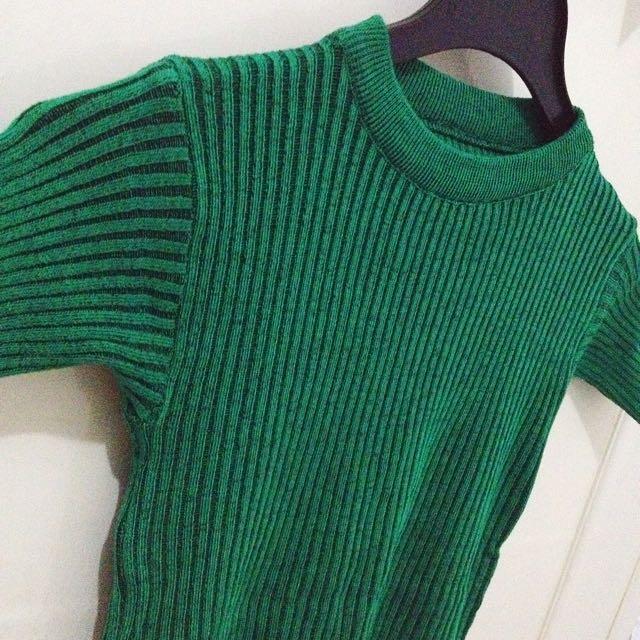 Green Rib Knit Top (Rajut)