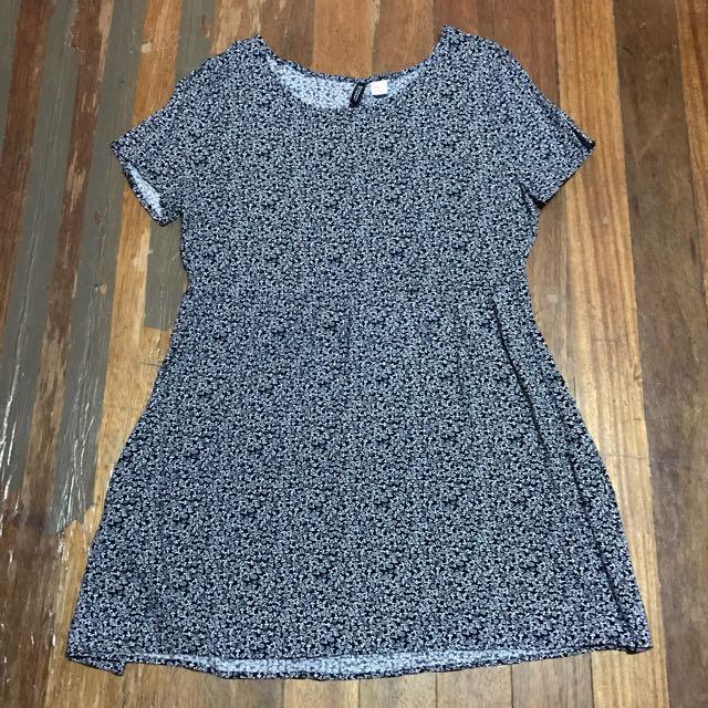SALE H&M Dark Blue Floral Dress UK12
