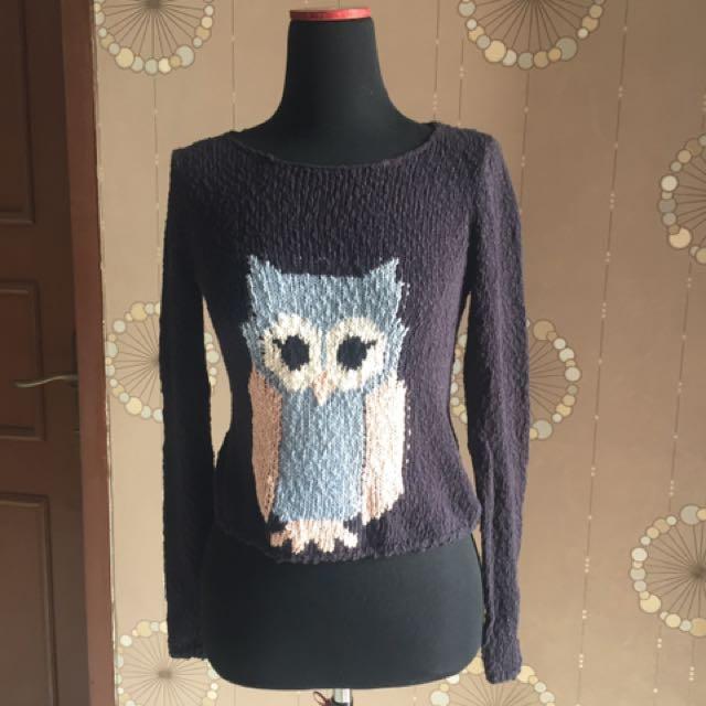H&M Owl Navy Sweater