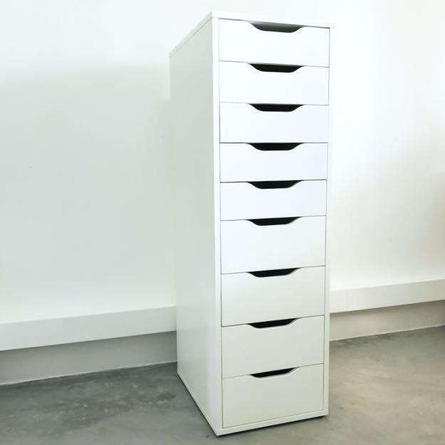 Retails 239 Ikea Alex 9 Drawer Cabinet Unit In White