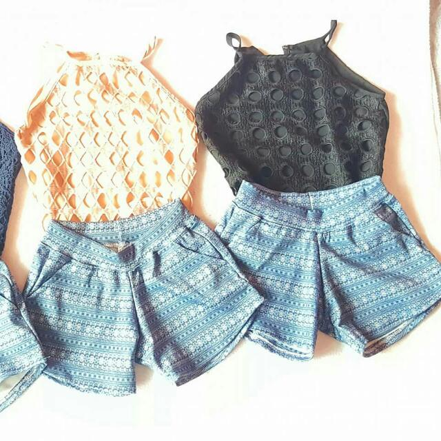 Lacey Top And Denim Like Short