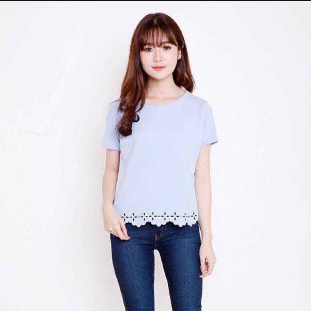 laser cut blue blouse