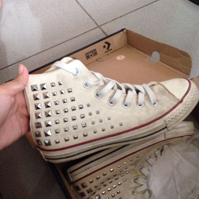 LIMITED EDITION White Studded Converse (Authentic)