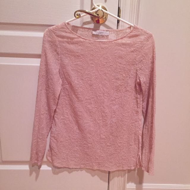 Loft Petites Pink Brocade Long Sleeve Shirt