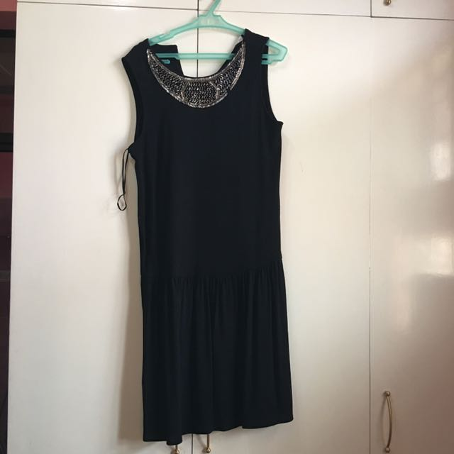 Mango Black Dress With Sequined Collar