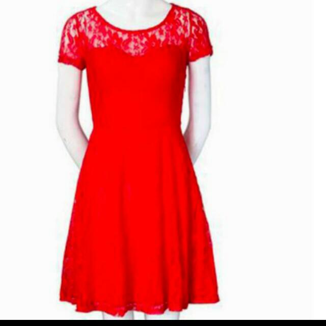 Mini Floral Red Lace Dress Ready stock