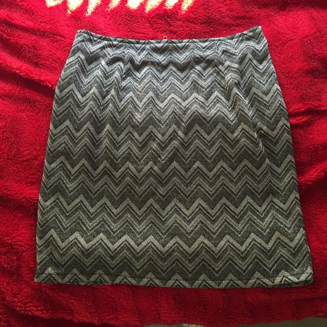 MINKPINK Metallic Zig Zag Mini Skirt