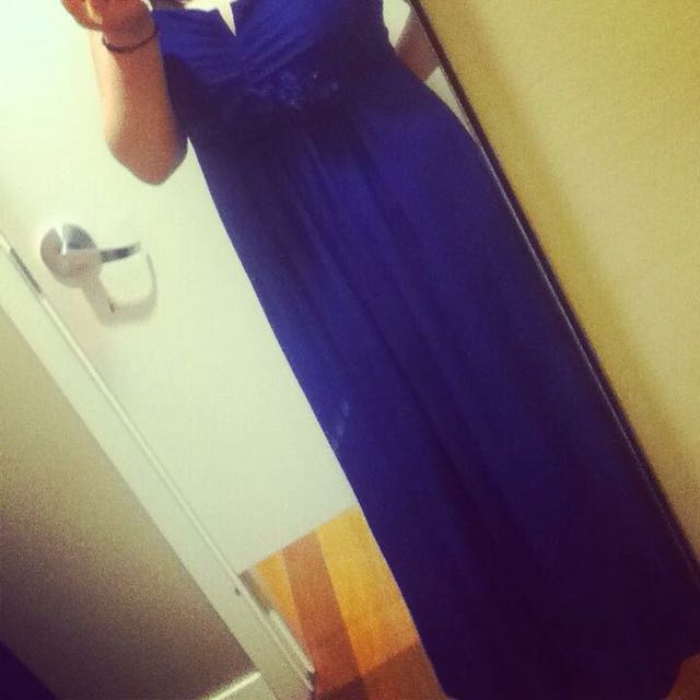 Navy Blue Floor Length Dress