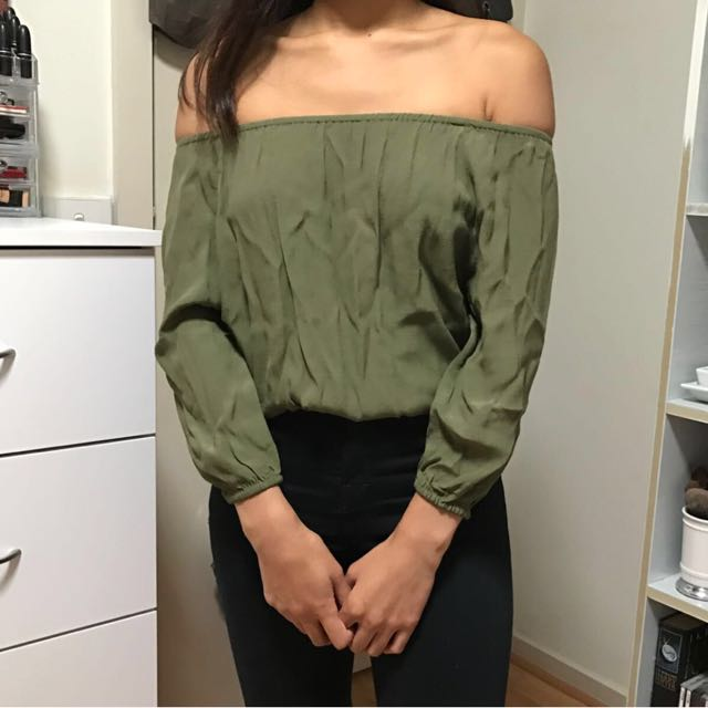 Off Shoulder Khaki Green Top Size 6