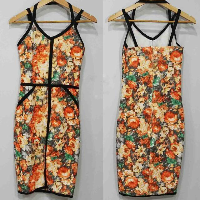 Orange Body Con Dress with Slim Straps