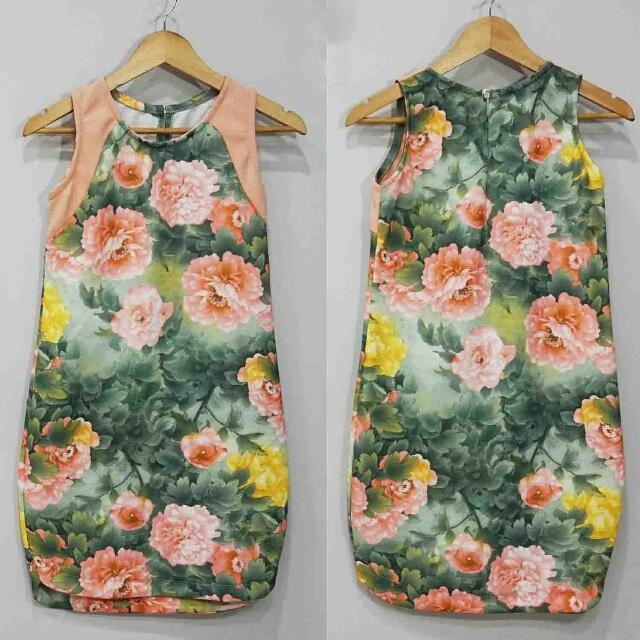 Peach and Green Floral Dress