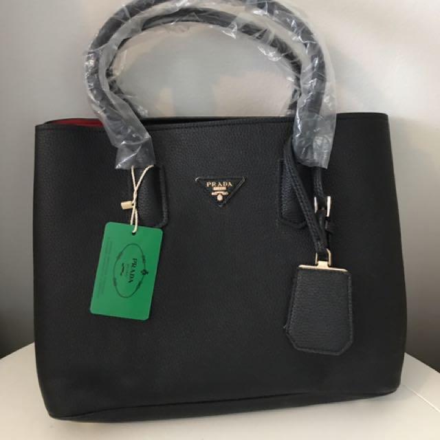 Prada Black Leather Bag/purse