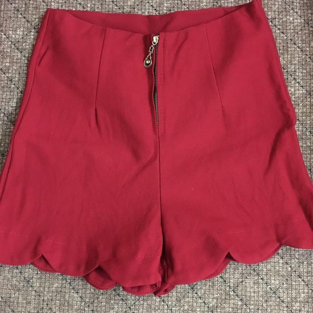 Red Highwaist Shorts