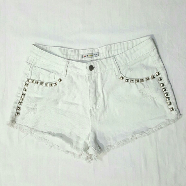 SALE! REDTAG White Distressed Jean Shorts With Studs