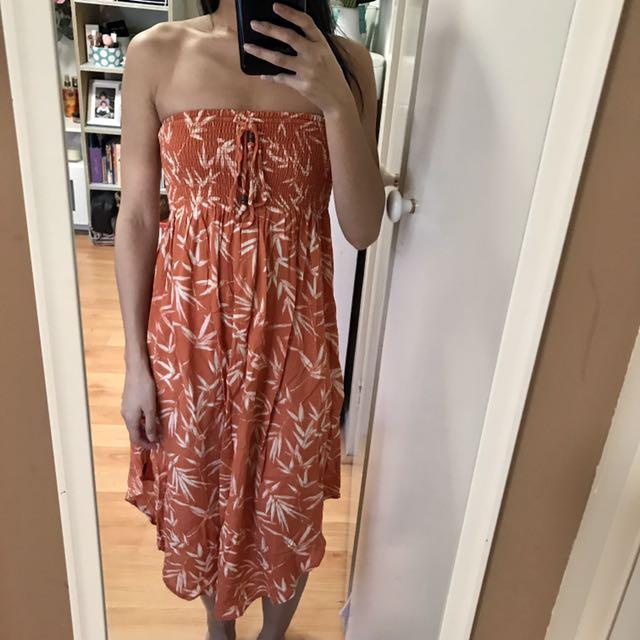 Ripcurl Off Shoulder Orange Floral Dress Size 8