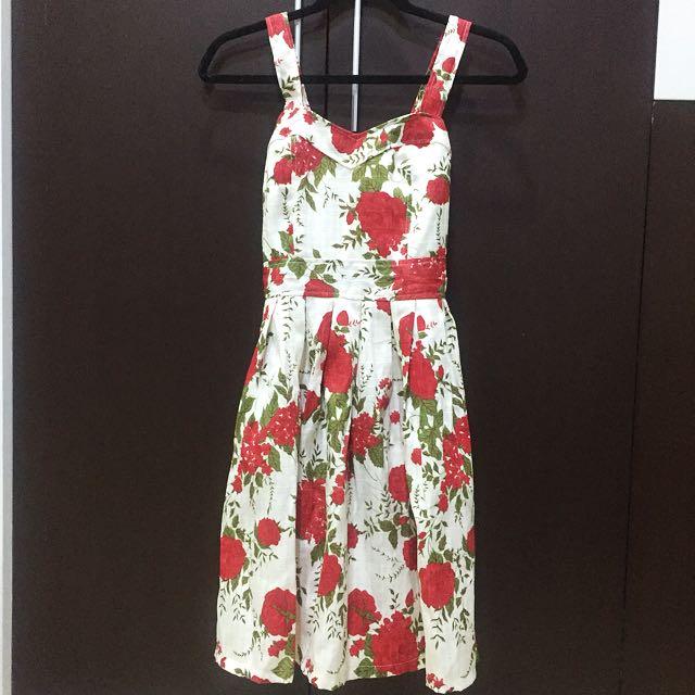Spring Floral Dress (Red)