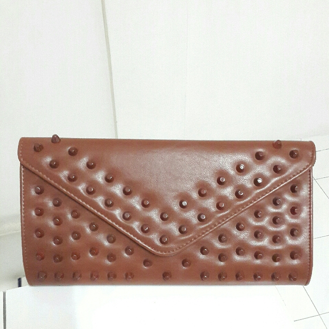 Studded Brown Clutch