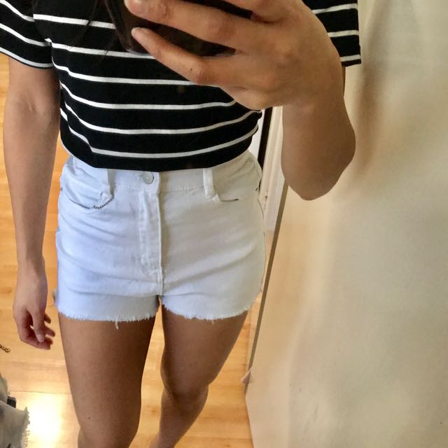 Supre White High Waist Mini Shorts Size 6