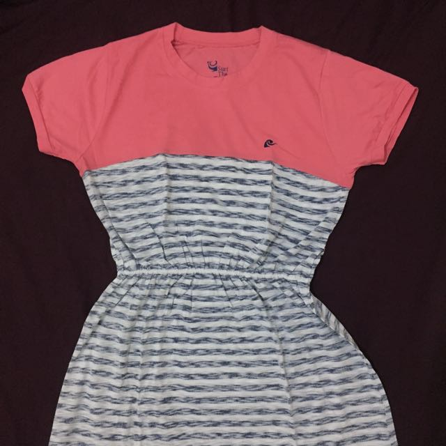 Surf The Earth Pink Stripe Blue Dress