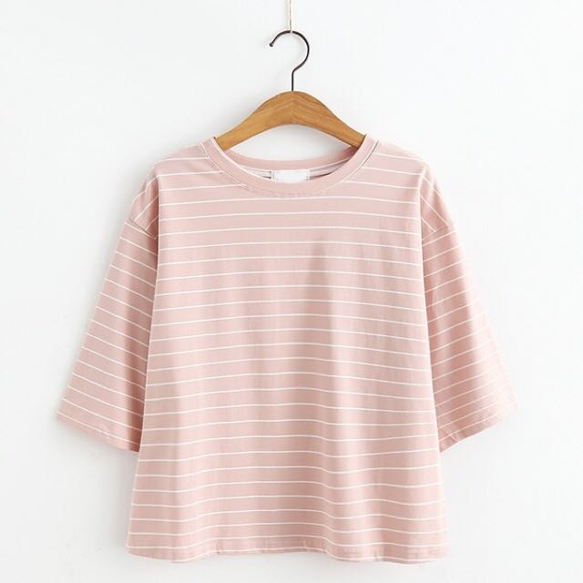 橫線條七分袖T恤
