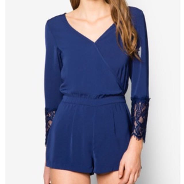 Zalora Playsuit (Long Sleeve With Lace Cuffs)