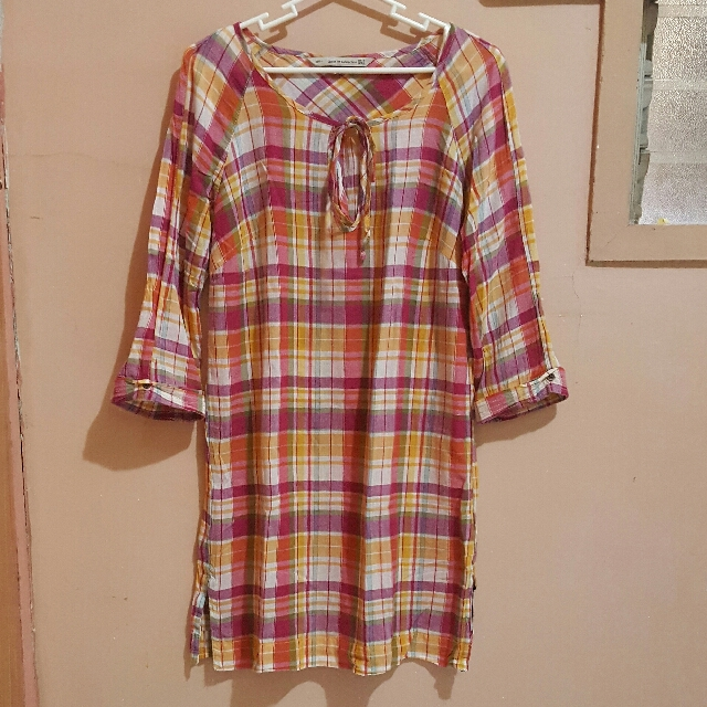 Zara Trf Collection Checkered Dress