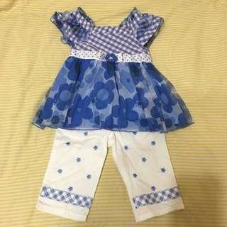 全新 歐美品牌 藍色小花套裝 上衣+褲子 2t